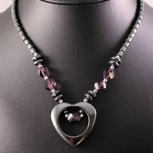 Ironstone Open Heart and Purple Gemstone Necklace